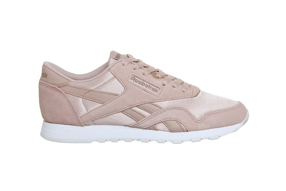 fb9e3ddbeca Reebok Classic Nylon Shell Pink Rose Gold Satin Pastel Sneaker