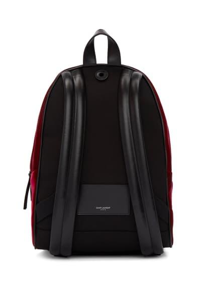 Saint Laurent Burgundy Velvet Mini City Backpack