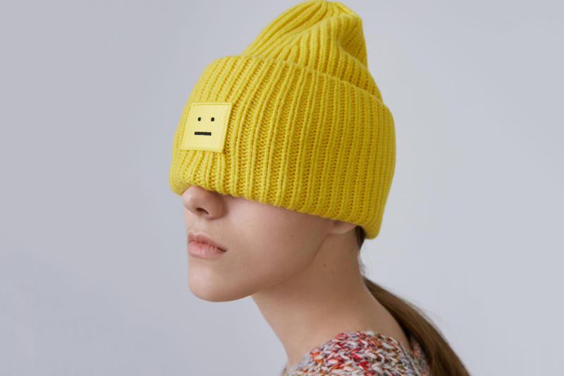 Acne Studios Pansy Wool Hat Cozy Chic Winter Fall Knit Beanie Face Smiley  Rainbow Pink Blue b7b7cdd17ad