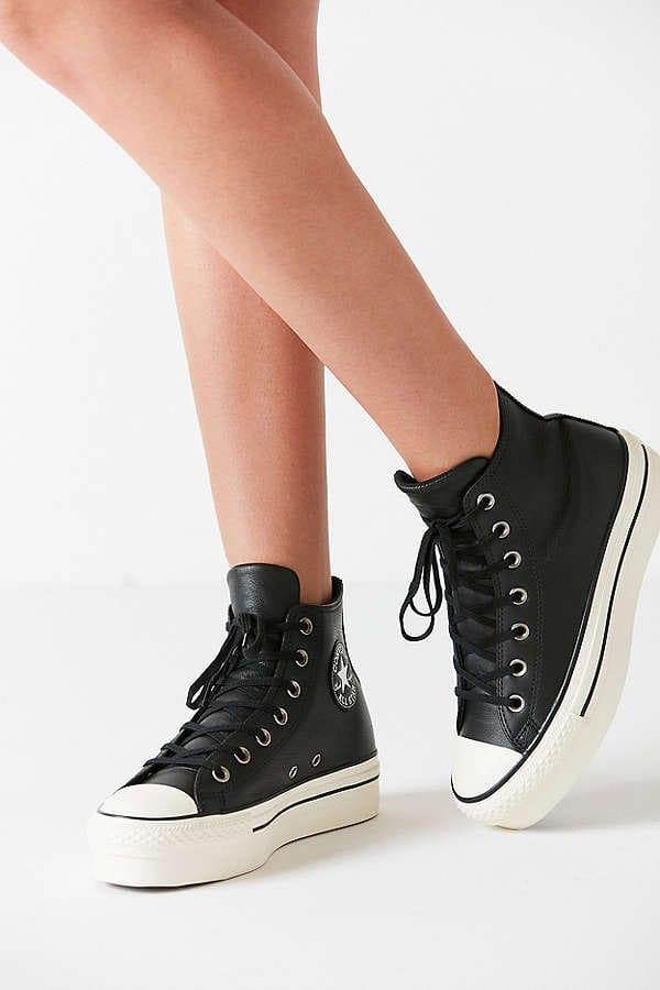 black leather platform converse