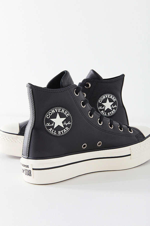 231f74242cc3 Converse Chuck Taylor All Star Platform Sneakers Black Leather Finish Shoe  Classic Iconic Silhouette Urban Outfitters