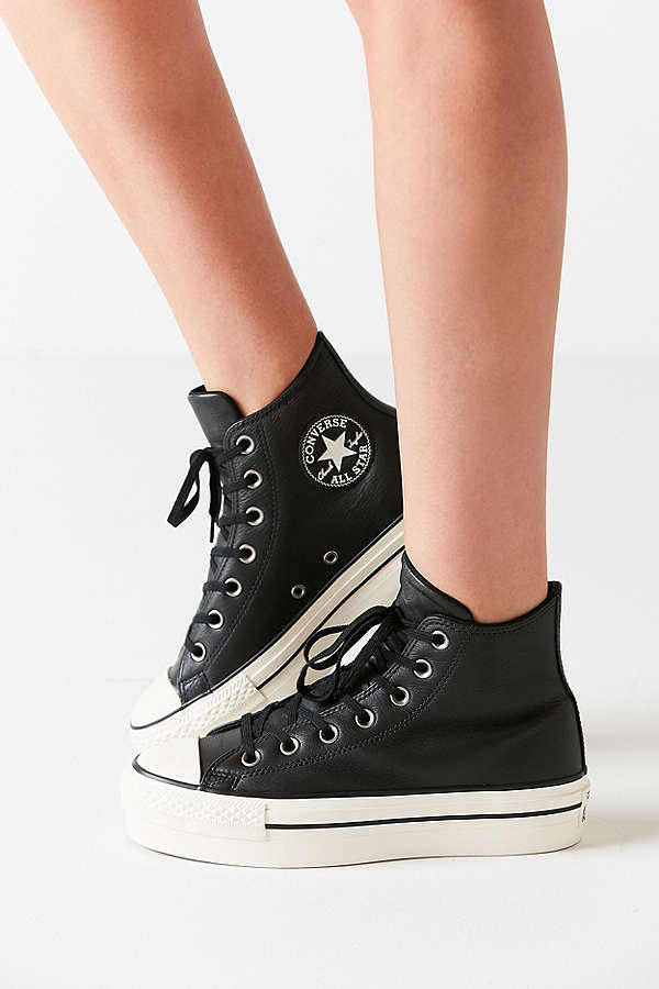 3786c967e24 Converse Chuck Taylor All Star Platform Sneakers Black Leather Finish Shoe  Classic Iconic Silhouette Urban Outfitters