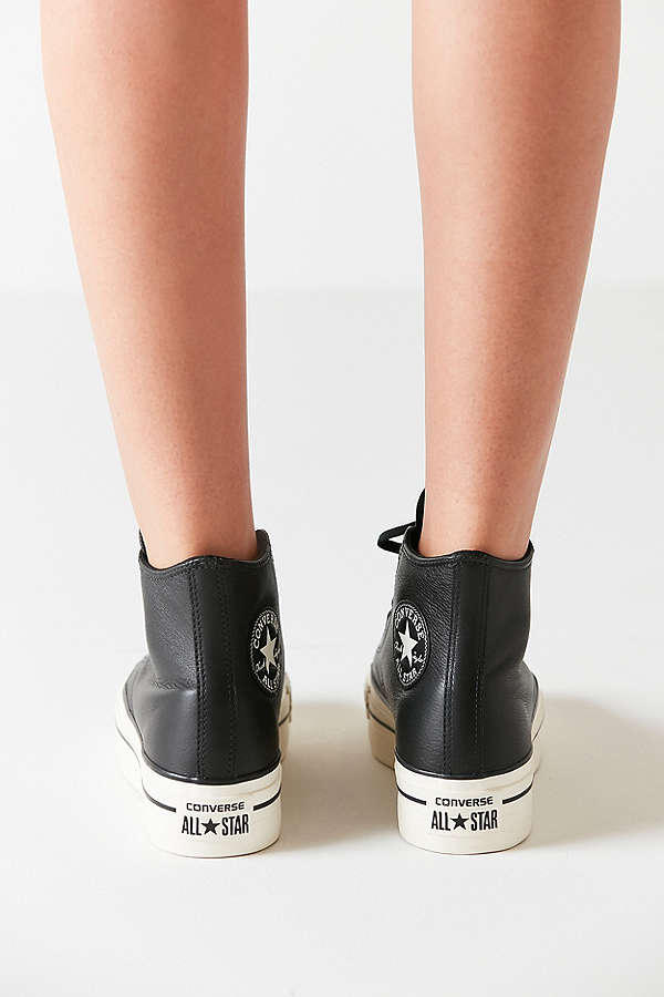 6377084f934c Converse Chuck Taylor All Star Platform Sneakers Black Leather Finish Shoe  Classic Iconic Silhouette Urban Outfitters