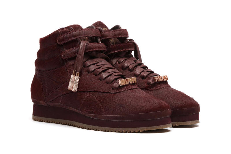 amber rose reebok freestyle hi red merlot pony hair sneaker muva fuka
