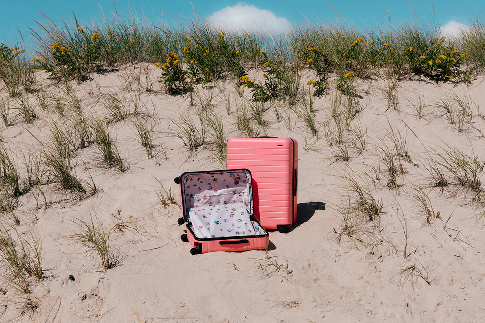 Away Travel Gray Malin Photographer Luggage Suitcase Collaboration Pink Blue White Pastel