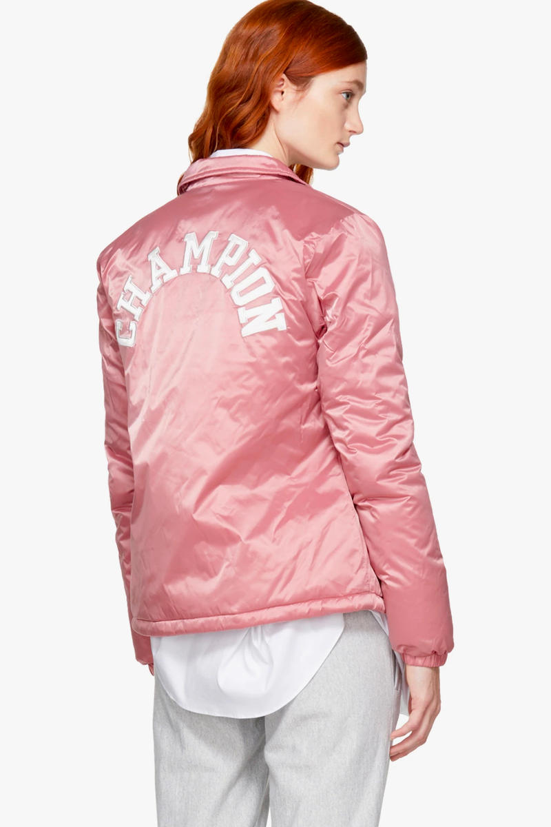 Champion Logo Jacket Bomber Pink Burgundy Black SSENSE