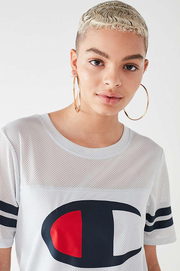 Champion Sporty Jersey T-Shirt Dress Athletic White Number Urban Outfitters Graphic Print