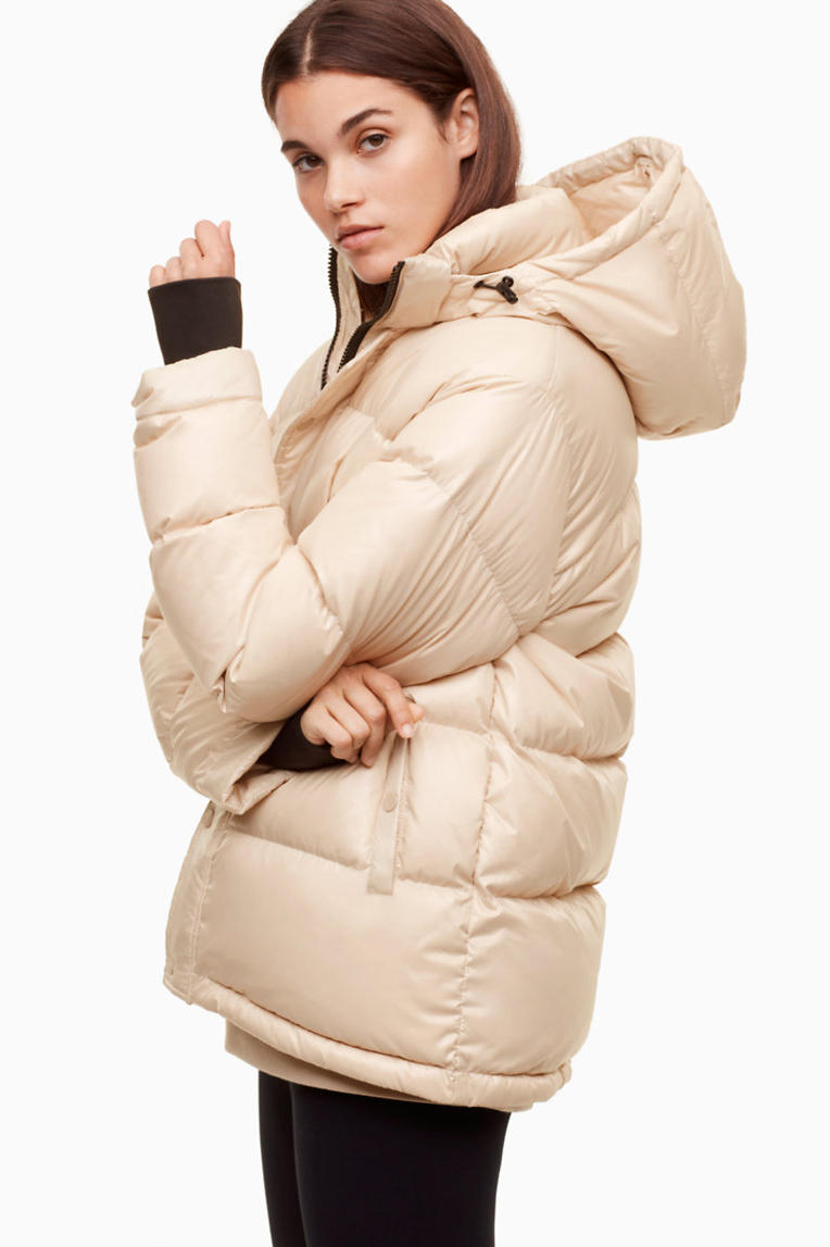 glossy puffer jacket coat cheap moncler aritzia