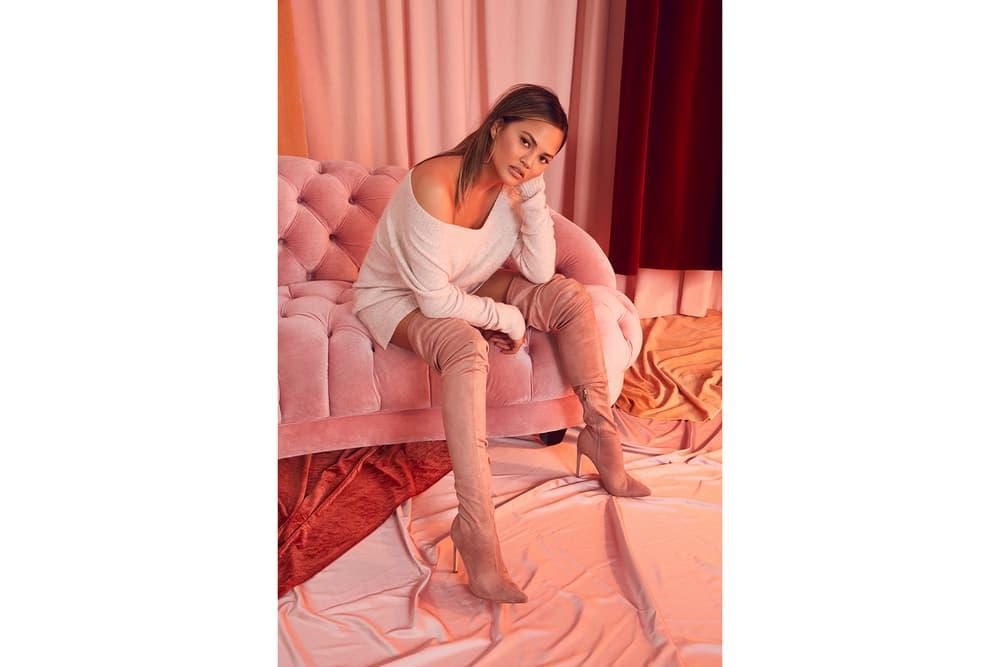 Chrissy Teigen REVOLVE 2017 Collaboration Holiday Christmas Party Fall Winter Velvet Dress Boots Editorial Lookbook