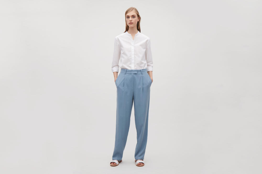 cos silk trousers tailored pastel blue editors pick