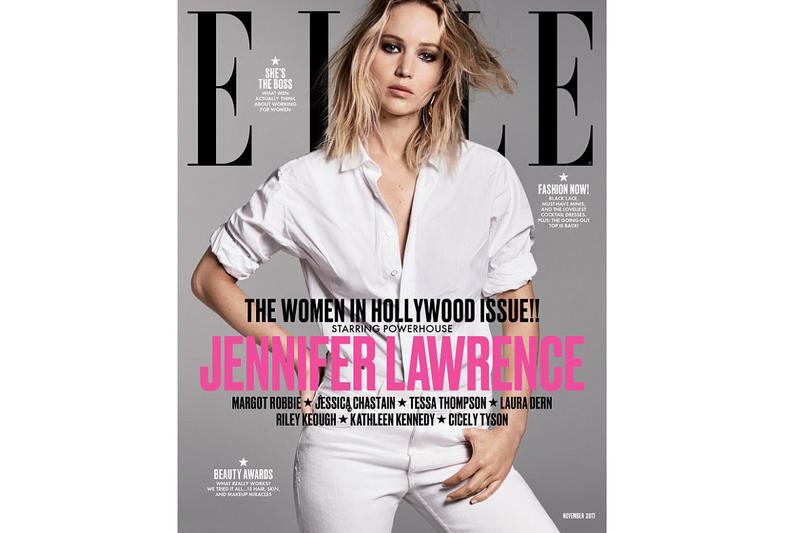 "ELLE Magazine ""Women In Hollywood"" Issue November 2017 Jennifer Lawrence Margot Robbie Jessica Chastain Laura Dern Tessa Thompson Riley Keough Cicely Tyson Kathlene Kennedy Girl Power Interview"