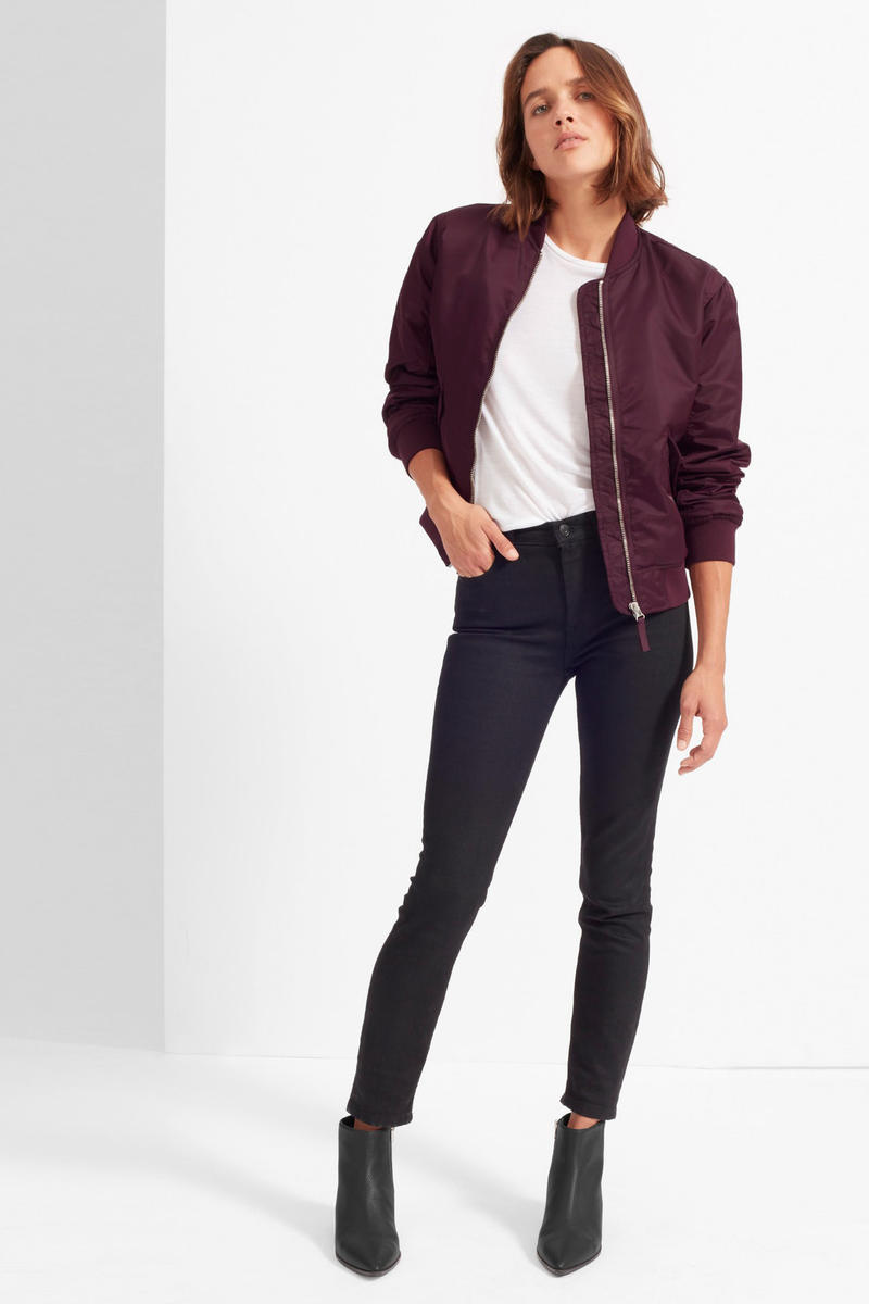 Everlane Bomber Jacket Rose Pink Burgundy Surplus Military Green Army Black Minimalist Winter 2017 Fall