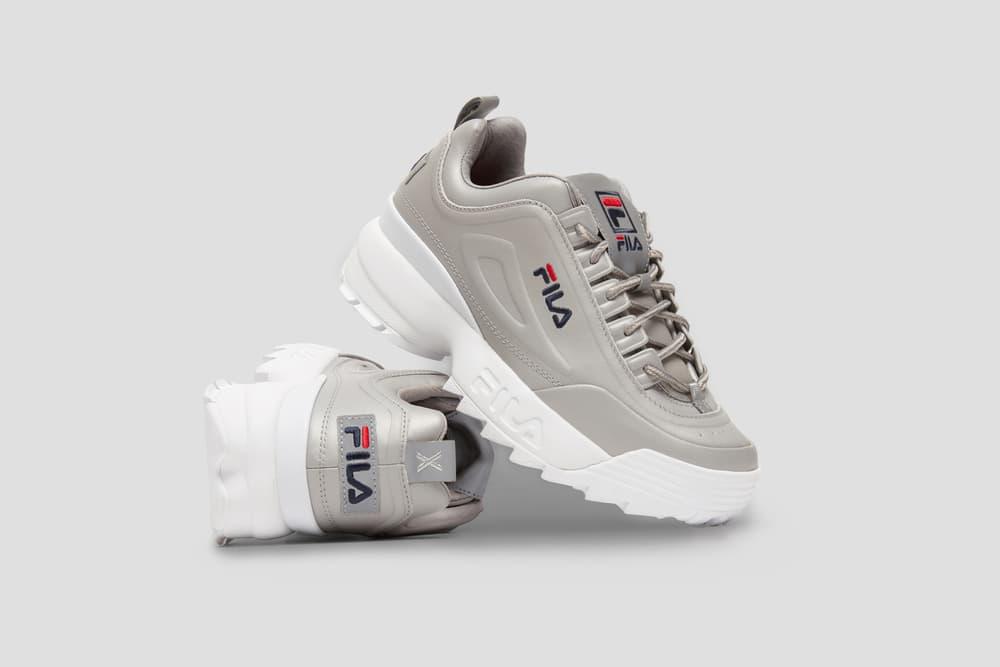 FILA XO Barneys New York Exclusive Capsule Collection Sneakers Apparel FILA Disruptor II Lux Sneaker Footwear Metallic Jackets Hoodies
