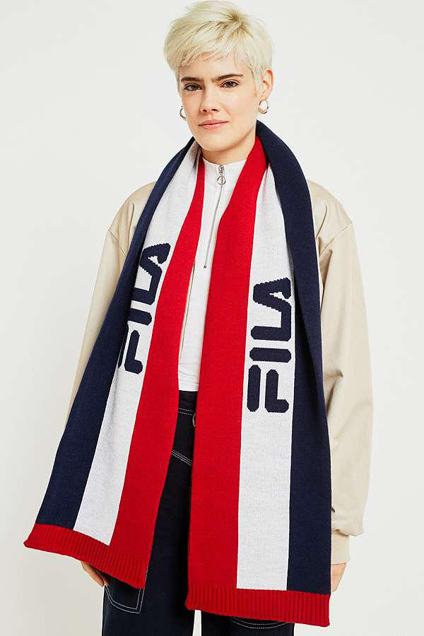FILA Striped Ski Scarf Urban Outfitters Logo Red White Blue Winter Fall