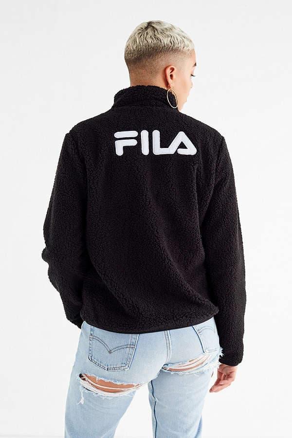 FILA Stevie Sherpa Zip Jacket Black Urban Outfitters Logo Fuzzy Furry Cuddly Cozy
