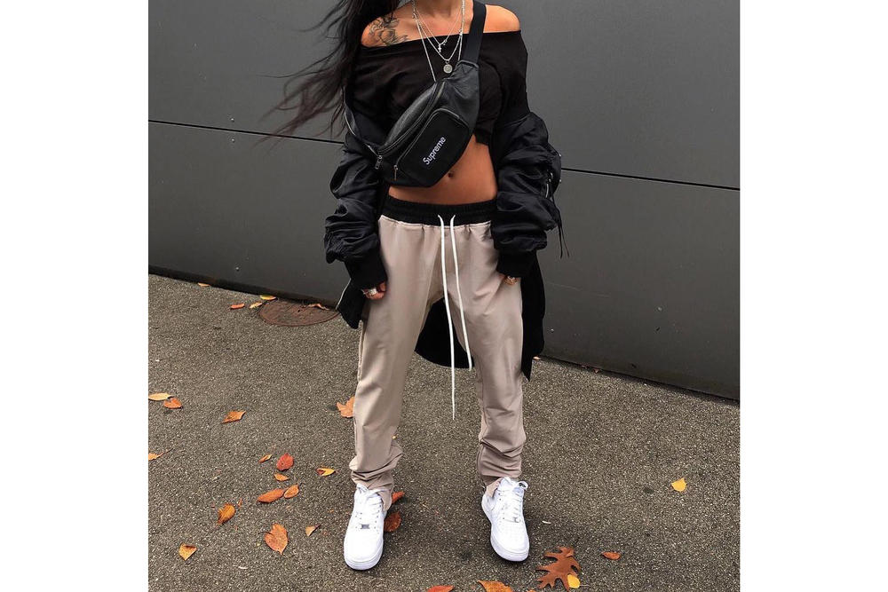 How to Wear Get the HYPEBAE Look Outfit Inspiration Budget Friendly Steal the Look Sweatpants Off-Shoulder Top Easy Outfit Ideas