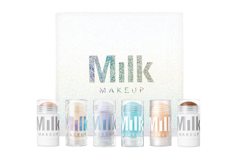 Milk Makeup Holiday 2017 Collection Christmas Highlighter Holographic Powder Quad Glitter Glaze A Team Mini stick