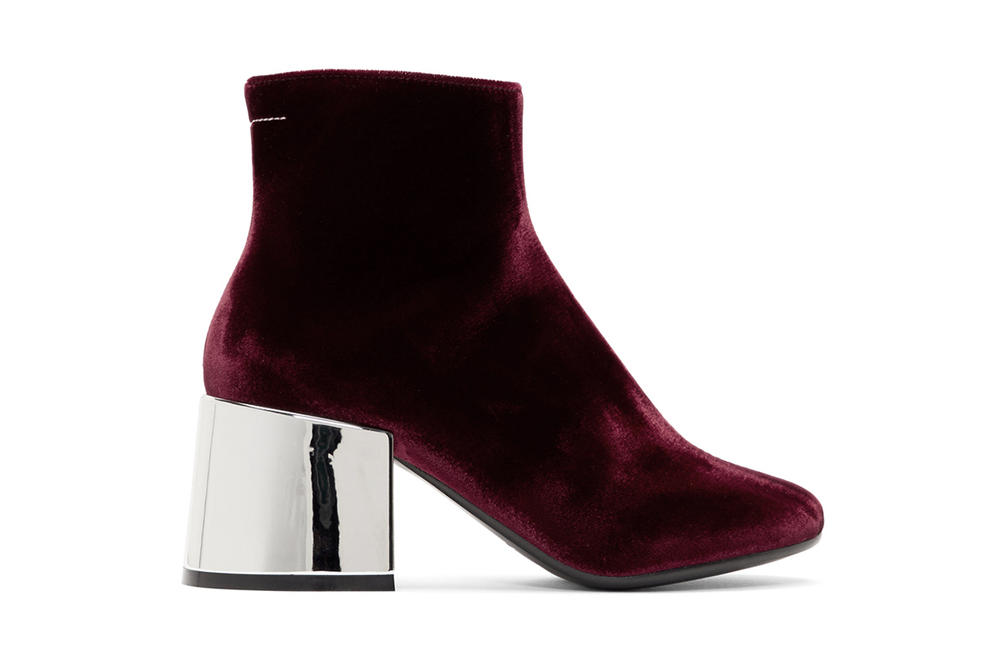 mm6 Maison Margiela Burgundy Velvet Cube Heel Boot Mirror Metallic Silver SSENSE