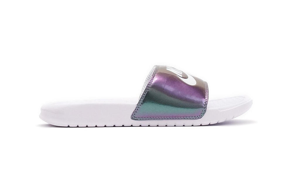 nike s new benassi slides are iridescent hypebae