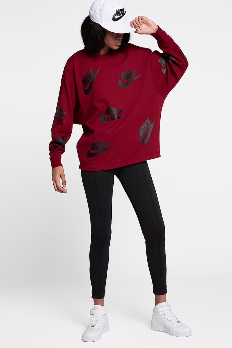 Nike Sportswear Crew Logo Print Team Red Black Carbon Heather Gray