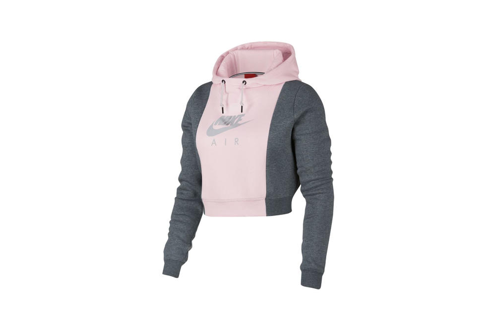 72c6132fa0b3 Nike Rally Metallic Air Crop Hoodie Pearl Pink Carbon Heather