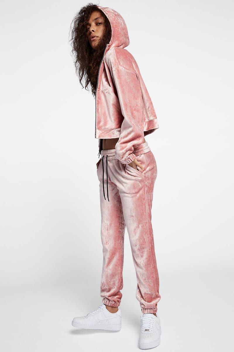 NikeLab Essentials Velour Hoodie Pants Rust Pink