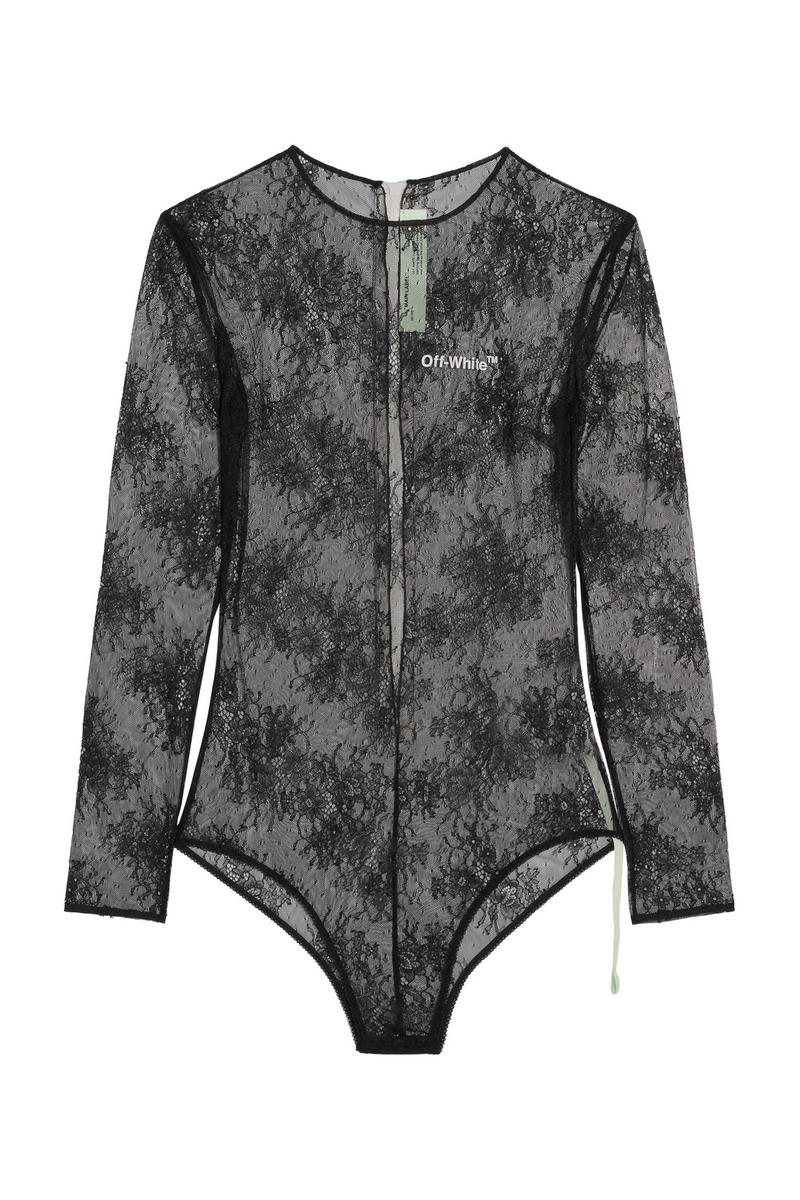 Off White Virgil Abloh Fall Winter 2017 Lace Jersey Bodysuit Black White Brown