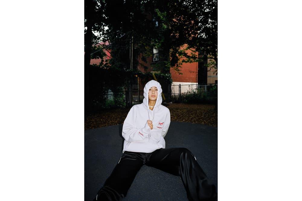 saintwoods sw 005 lookbook logo tee montreal hoodie