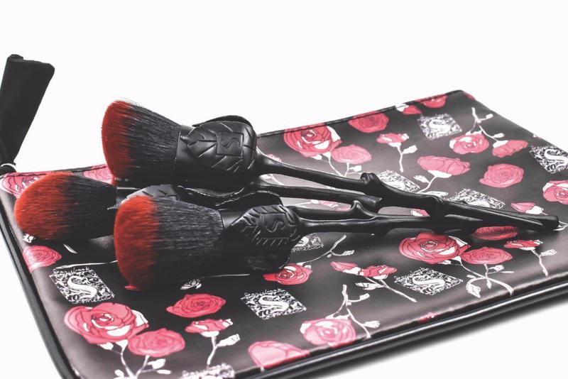 Storybook Cosmetics Black Rose Makeup Brushes Beauty Goth Halloween Chic Black Red Dark Bag Collector Story Dark