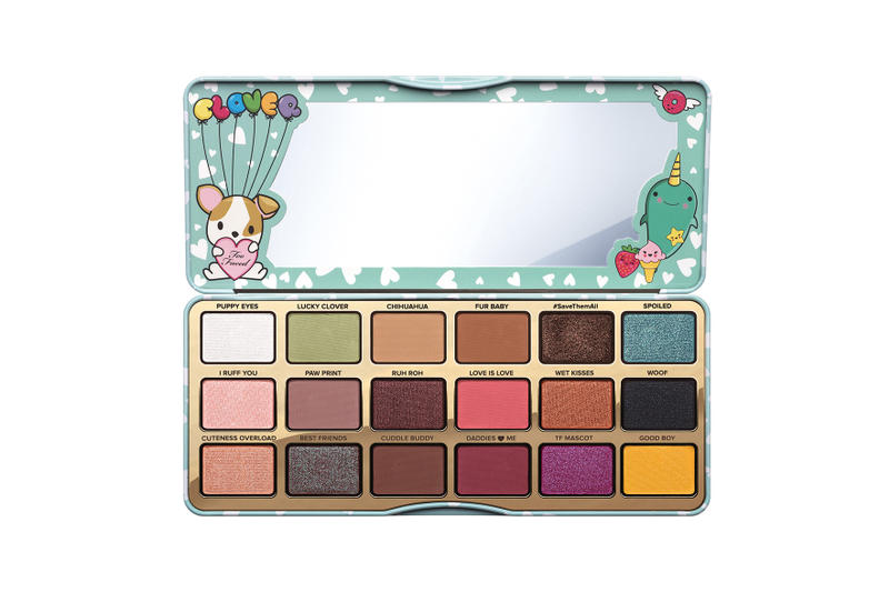 Too Faced Cosmetics Clover Eyeshadow Palette Animal Puppy Friendly Colorful Beauty Cosmetics Dogs Cartoon Makeup Cute