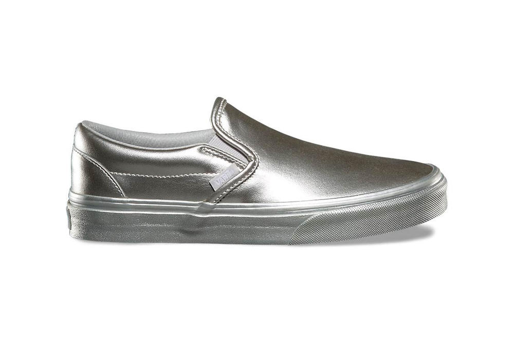 Vans Old Skool Slip-On Metallic Sidewall Silver