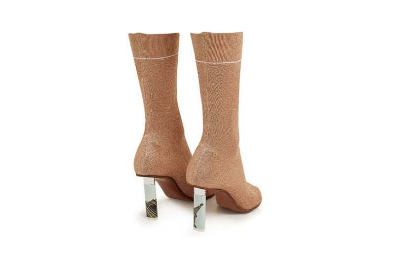 Vetements Lighter Heel Sock Ankle Boots Metallic Rose Gold
