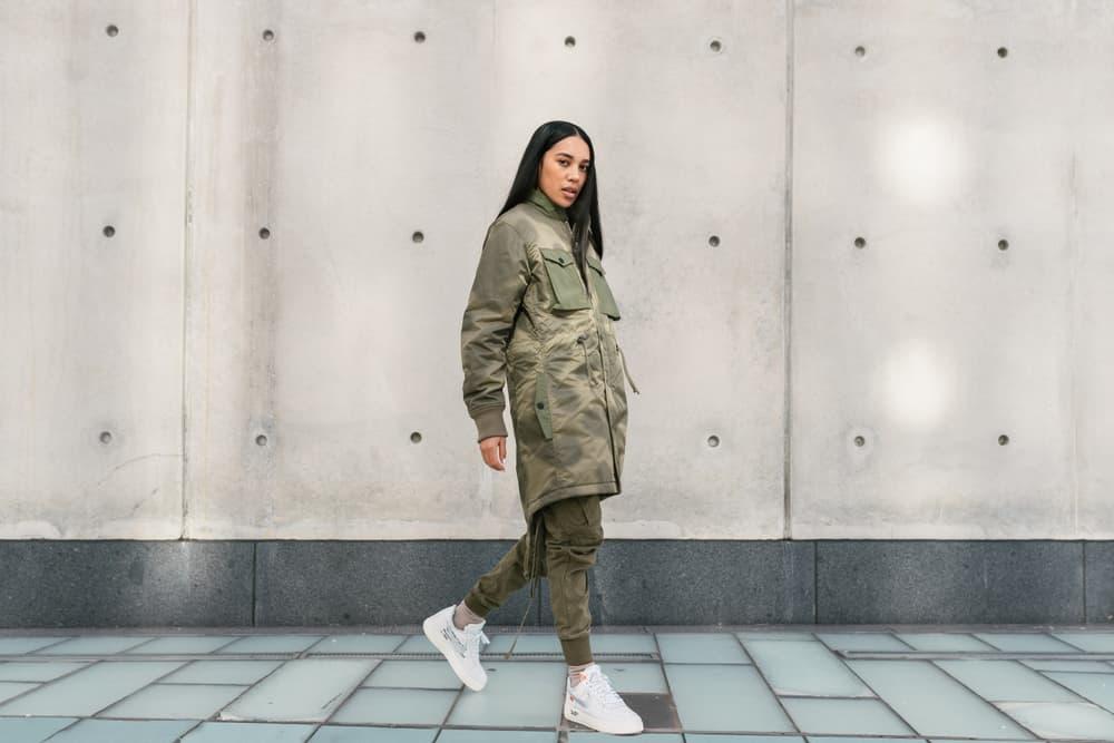 REIGN Maharishi Aleali May Fall Winter Collection Editorial Parka Jacket Monochrome Streetwear Shoot Editorial Lookbook