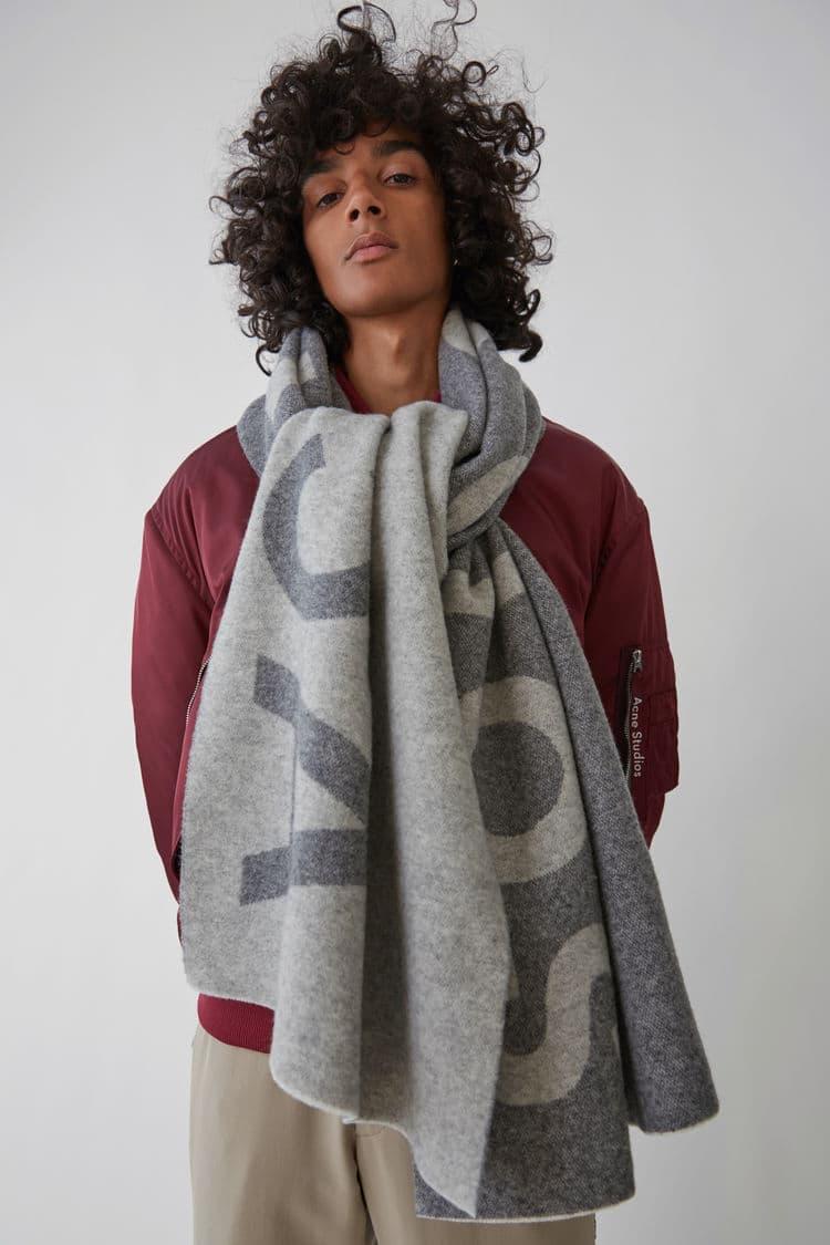 Acne Studios Toronty Logo Wool Scarf Pink Blue Black White Grey Warm Winter Clothing Outerwear