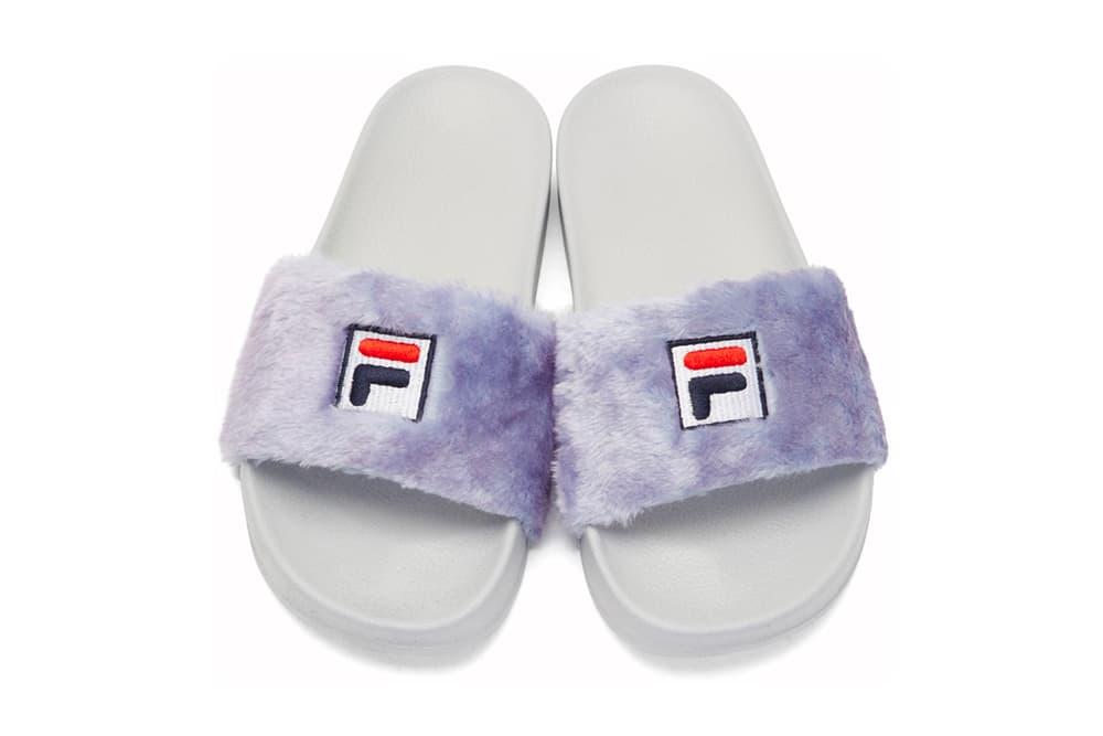 8f2ea31c9cb5 Baja East FILA Shearling Slides Fur Purple White Black Grey