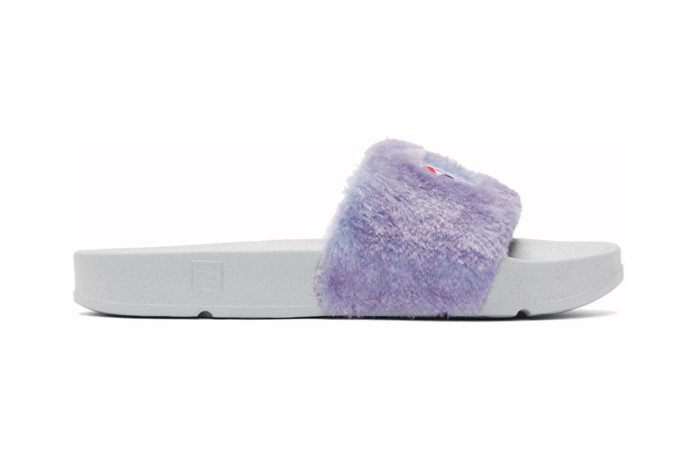 Baja East FILA Shearling Slides Fur Purple White Black Grey
