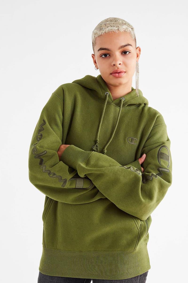 Champion Urban Outfitters Novelty Graphic Hoodie Sweatshirt Orange Sky Olive Maroon