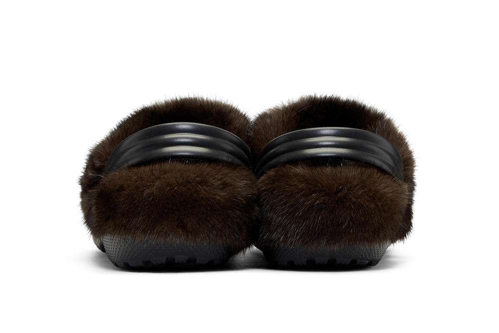 Christopher Kane Crocs Fur Lining Black Sandals Ugly Fashion