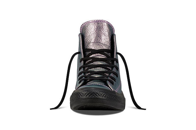 Converse Chuck Taylor All Star Iridescent Leather Silhouette Classic Sneaker Shoe Holographic Shiny Glow Metallic