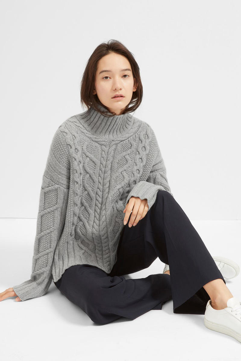 everlane cable knit turtleneck sweater beanie mittens