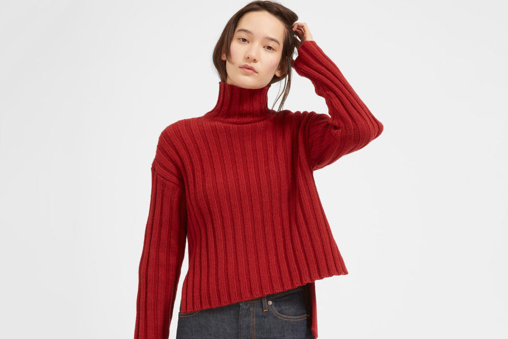 Everlane wool cashmere sweater cardigan beanie scarf