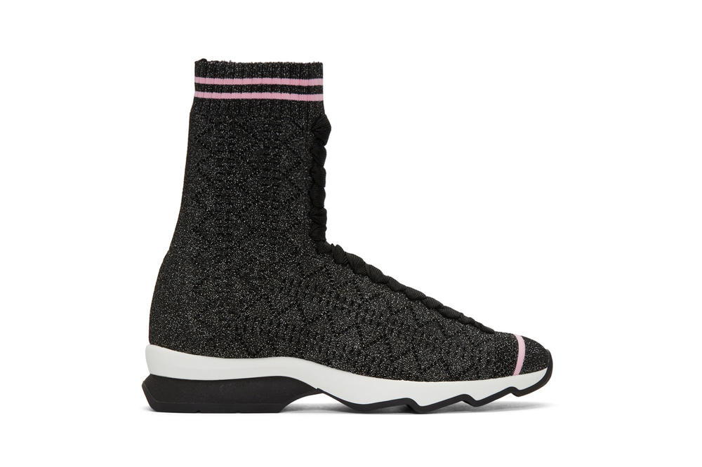 Fendi Lace-Up Sock Runners Pink Black Glitter Karl Lagerfeld SSENSE Sneakers Shoes