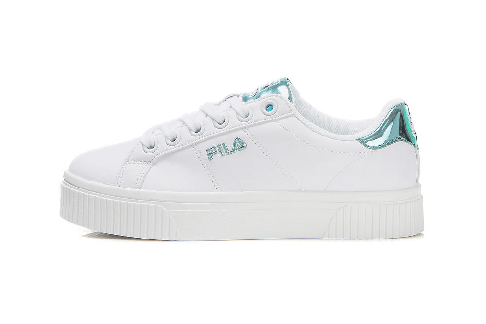 FILA Court Deluxe Bold Shiny Blue Turquoise Metallic Strap Lace