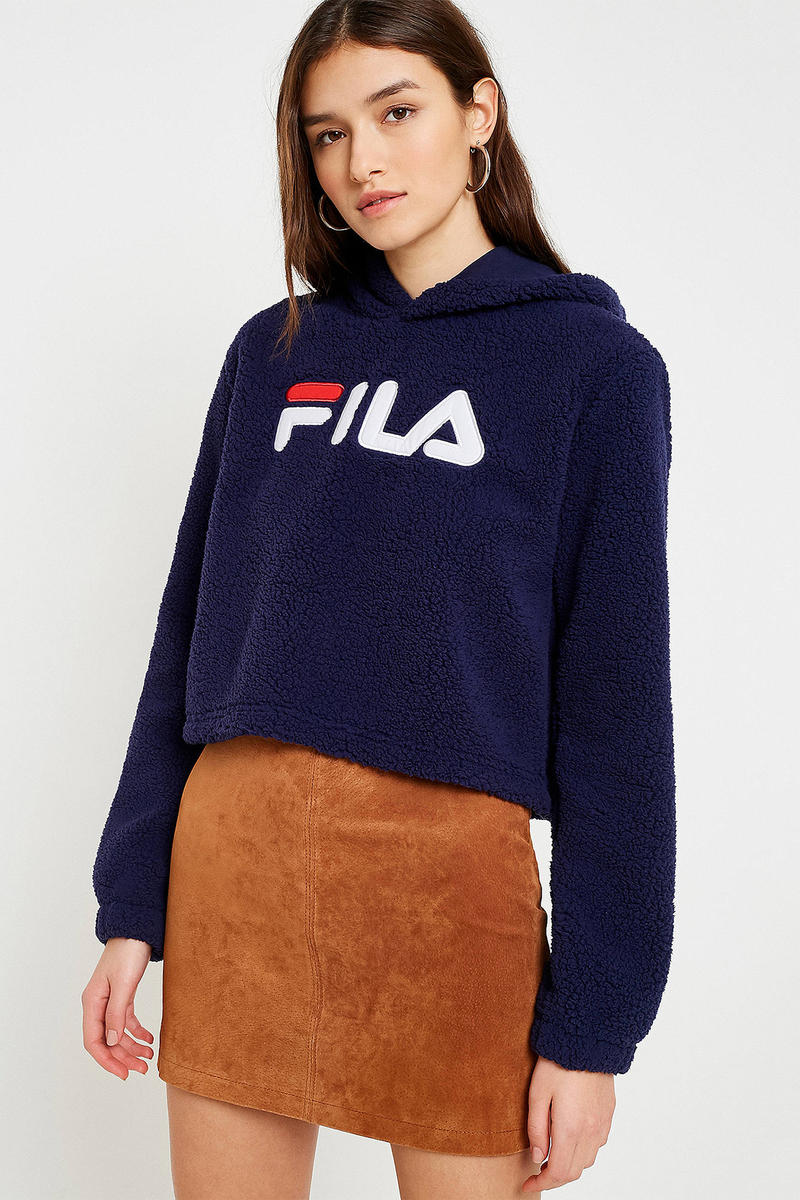 FILA logo cropped teddy hoodie cozy navy urban outfitters