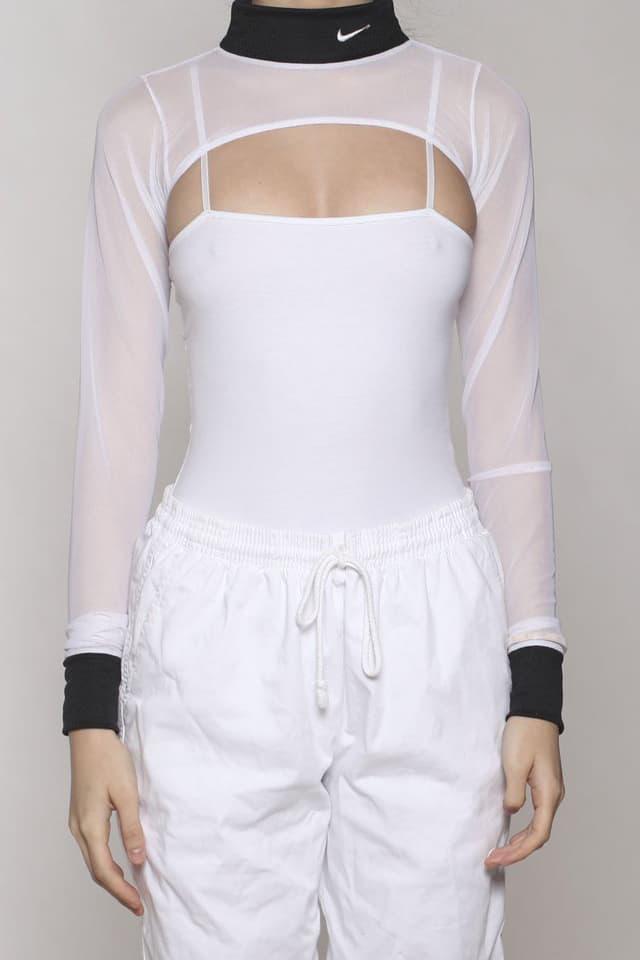 Frankie Collective Champion Nike adidas Tommy Hilfiger Umbro Mesh Bodysuit Half Top Crop Rework Vintage