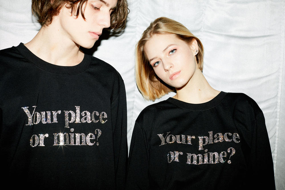 KM20 Ashish Exclusive Your Place Or Mine T-Shirt Swarovski