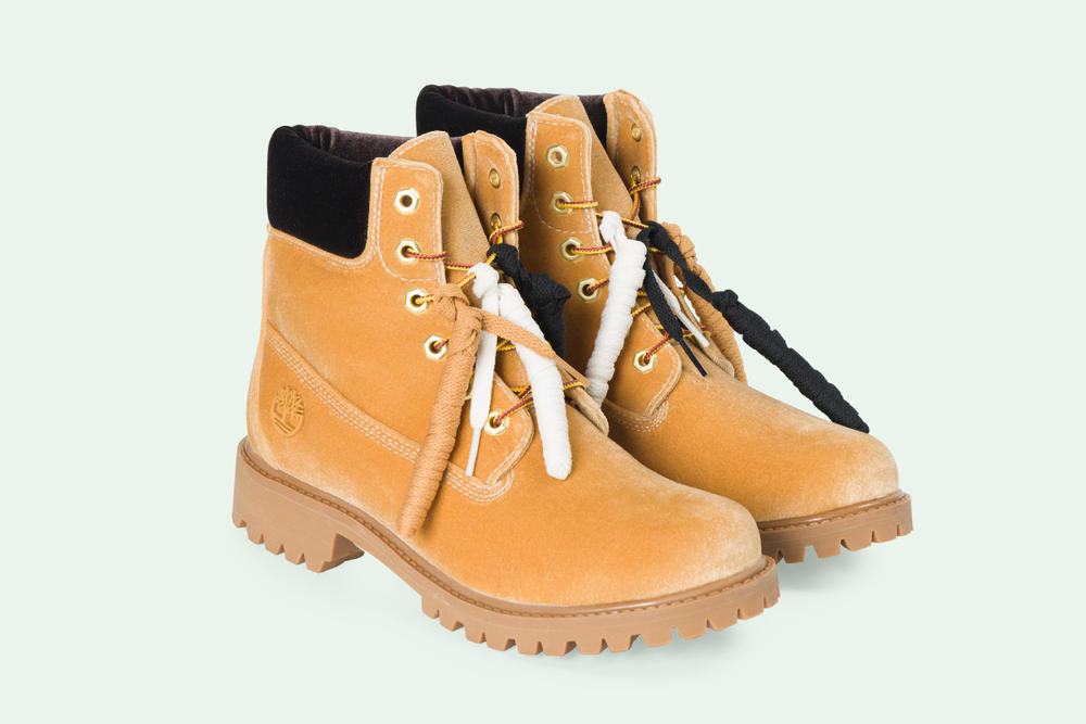 Off-White Timberland Velour Boot Collaboration Virgil Abloh Green Orange Black Tan