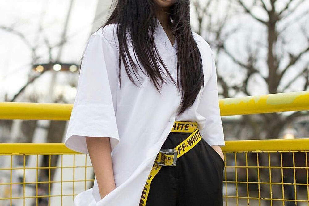 Off-White Industrial Belt Outfit Look Inspiration Clothes Fashion Yellow Virgil Abloh Fashion One Item Two Ways