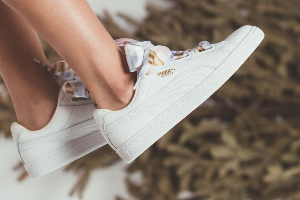 PUMA Basket Heart Geo Camo Sneaker Laces Cute White Silhouette Classic Fruition