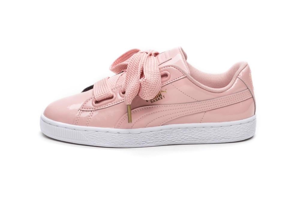 uk availability cd380 1c4ae PUMA Basket Heart Is Pretty in Patent Peach Beige | HYPEBAE
